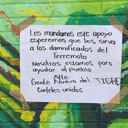 Cartel de Cuauhtémoc deja ayuda para damnificados