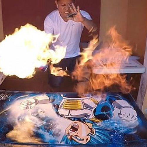 Pintando con spray y con mucha energía a Vegeta Super Saiyan Blue