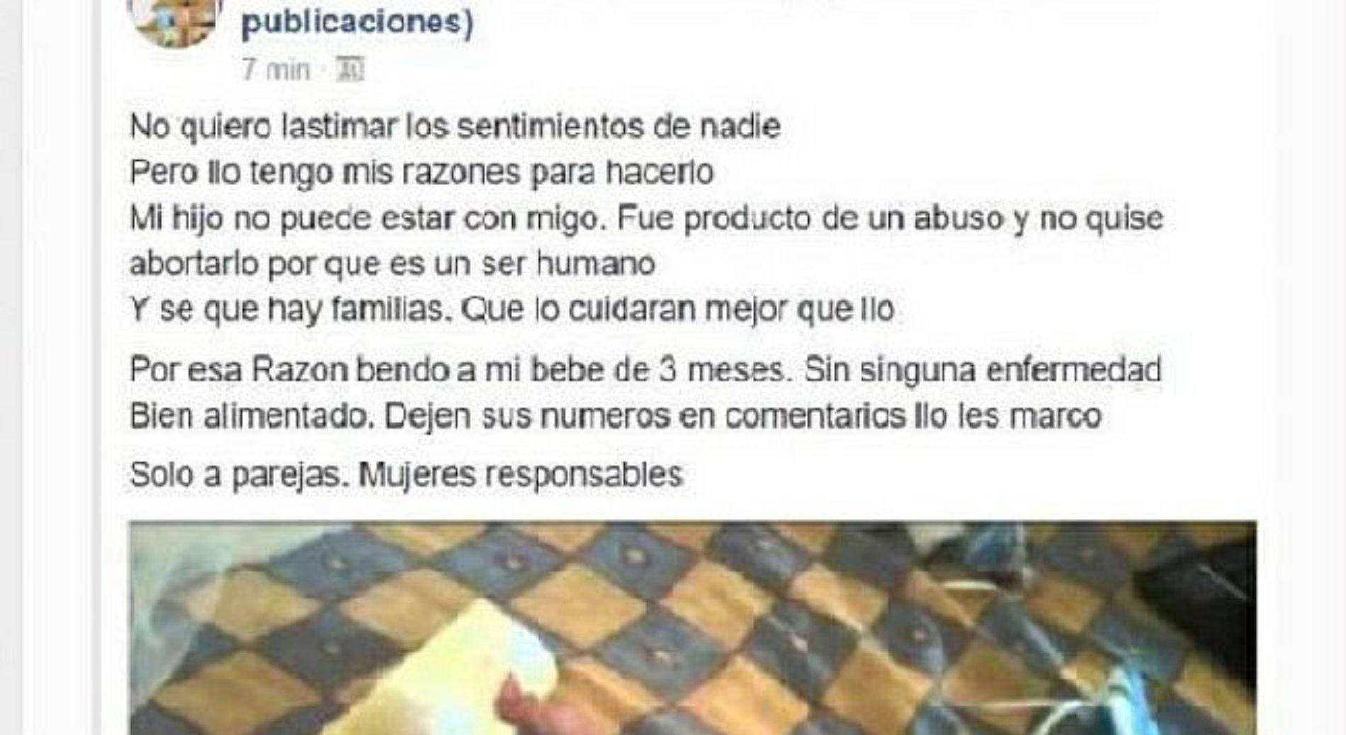 Mujer pone a la venta su bebé en Facebook por ser producto de una violación