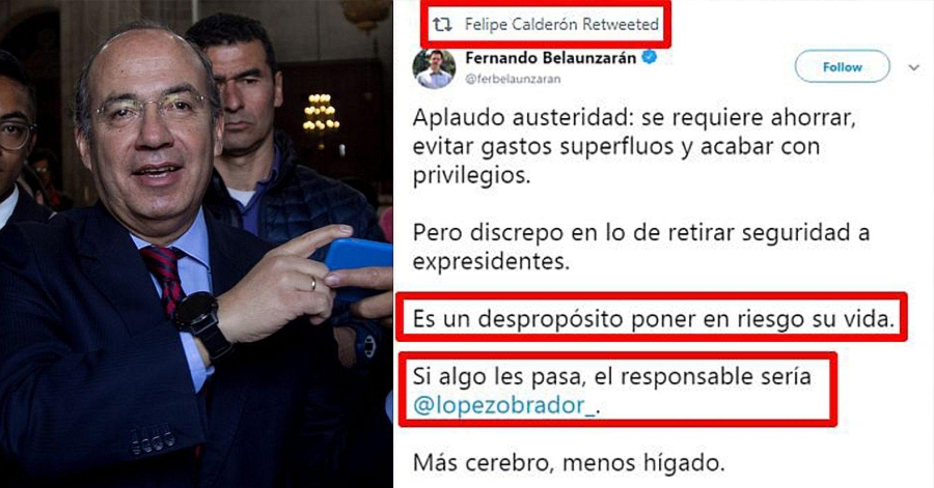 Calderón responsabiliza a AMLO 'si algo le pasa' por quitarle sus escoltas