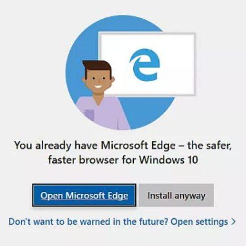 Windows 10 interrumpe la instalación de otros navegadores para obligarte a usar Microsoft Edge